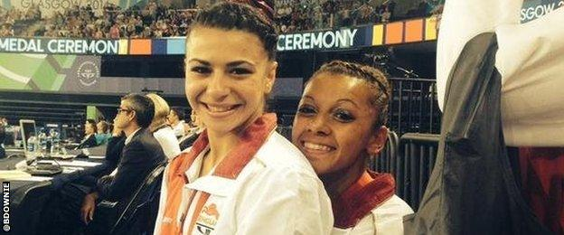 Claudia Fragapane and Becky Downie at Glasgow 2014