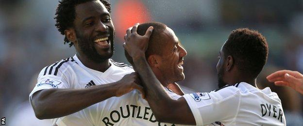 Wayne Routledge's goal was his second of the campaign for Swansea