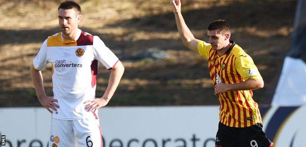 Kris Doolan celebrates after firing Partick Thistle into a 2-0 lead against Motherwell