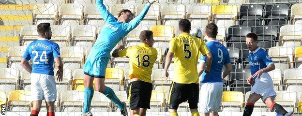 Rangers' Ian Black heads the ball off the line following a Jordan White effort