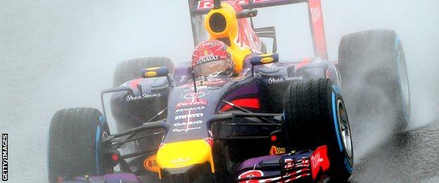 Sebastian Vettel driving at the Japanese Grand Prix