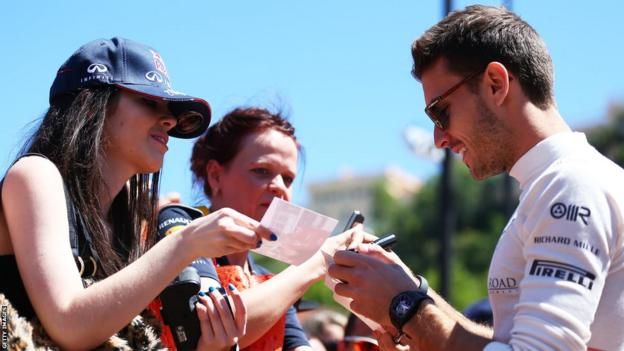 Jules Bianchi signing autographs prior to the Monaco Grand Prix this year.