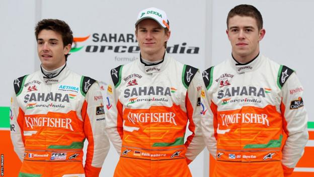 Bianchi as part of the Force India team in 2012