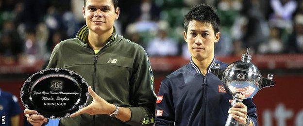 Milos Raonic (left) and Kei Nishikori, who won his fourth title of the year