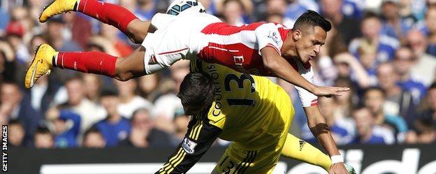 Chelsea goalkeeper Thibaut Courtois and Arsenal's Alexis Sanchez
