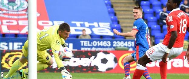 Marley Watkins scores the leveller for Inverness