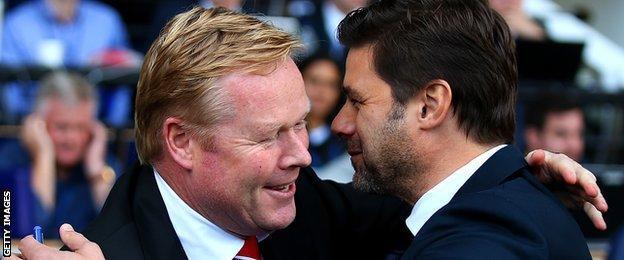 Southampton manager Ronald Koeman (left) and Tottenham counterpart Mauricio Pochettino