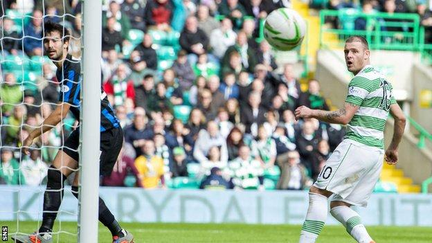 Anthony Stokes misses a chance for Celtic against Hamilton Academical