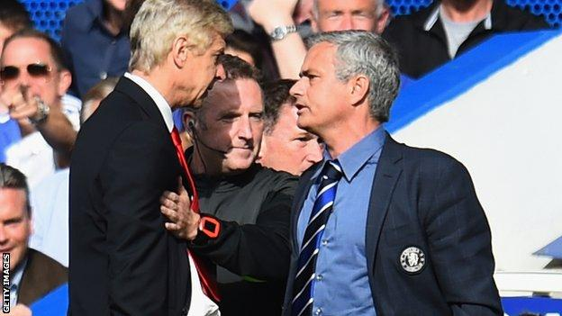 Arsene Wenger and Jose Mourinho had to be separated during Chelsea v Arsenal