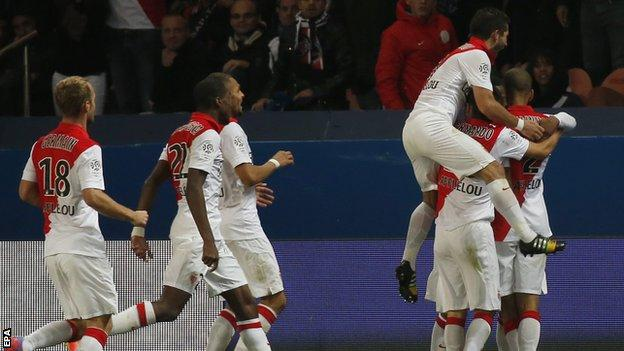 Monaco celebrate Anthony Martial's equaliser
