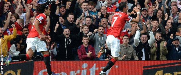 Angel Di Maria celebrates scoring for Manchester United against Everton