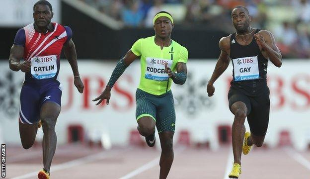 Justin Gatlin, Michael Rodgers and Tyson Gay compete at this year's Diamond League meeting in Lausanne