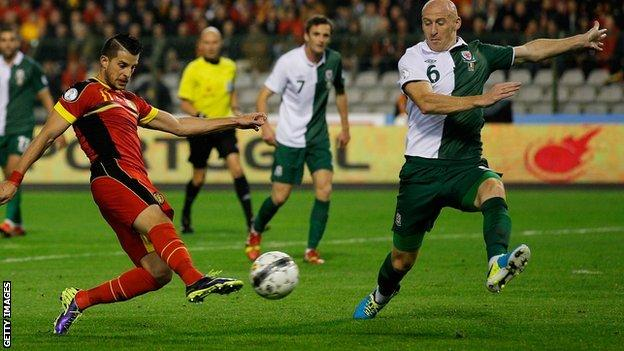 James Collins in Belgium v Wales' World Cup qualifier in 2013