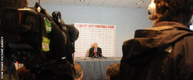 The media assembled for Russell Slade's first official press conference as Cardiff City manager