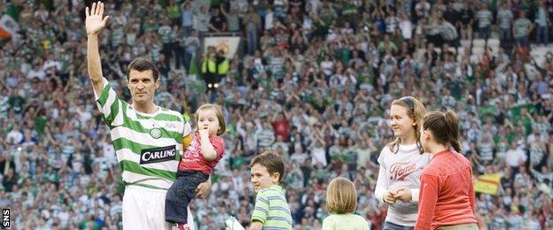 Roy Keane waves to the fans at Old Trafford at his testimonial match against Celtic