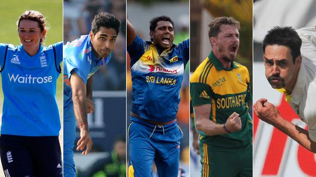Charlotte Edwards, Bhuvneshwar Kumar, Angelo Mathews, Dale Steyn and Mitchell Johnson