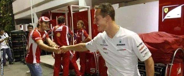 Jules Bianchi and Michael Schumacher