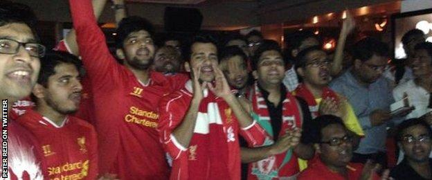 Peter Reid watched the Liverpool v Everton derby at a Liverpool supporters' club in India