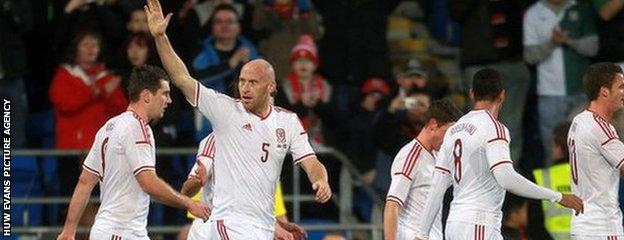 James Collins celebrates goal in March 2014 friendly against Iceland