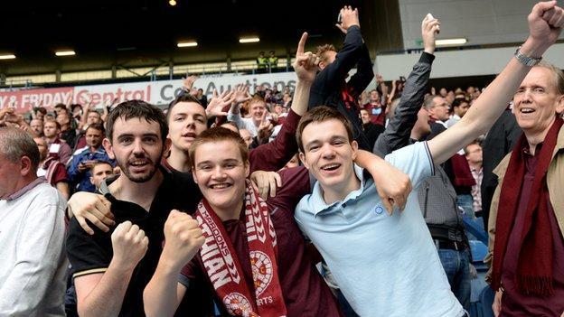 Football fans applauding