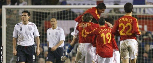 England concede against Spain in February 2007