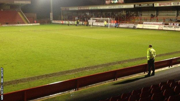 Hereford United's 200 protesting fans at Aggborough