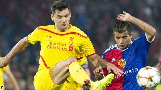 Lovren, left, in action against Basel