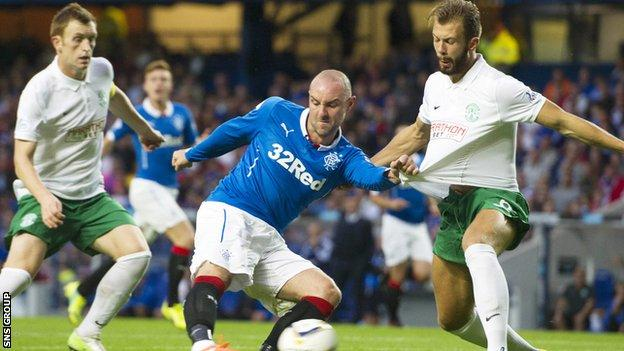 Kris Boyd in action against Hibernian