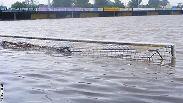 Gloucester City's ground under flood water in 2007