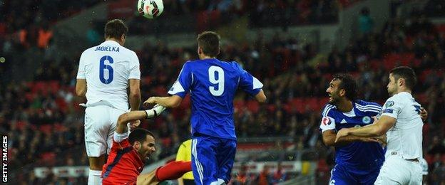 Phil Jagielka heads England ahead