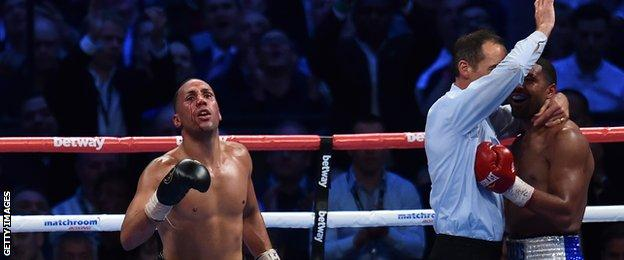 James DeGale celebrates his victory over Brandon Gonzales in May