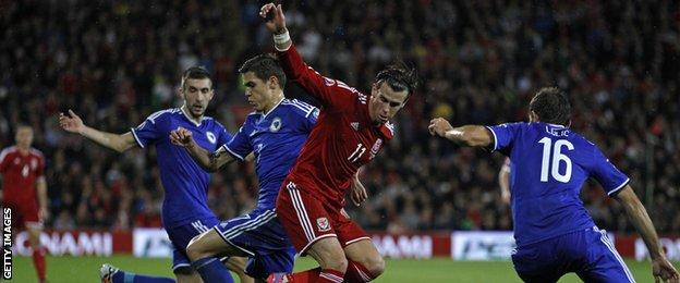 Gareth Bale was well marked by Bosnia-Hercegovina