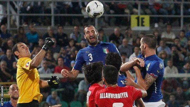 Giorgio Chiellini scored all three goals in Italy's 2-1 win against Azerbaijan