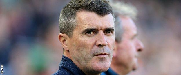 A shaven Roy Keane watches Saturday's action at the Aviva Stadium