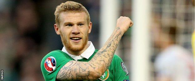James McClean celebrates after scoring the first of his two goals in Saturday's game
