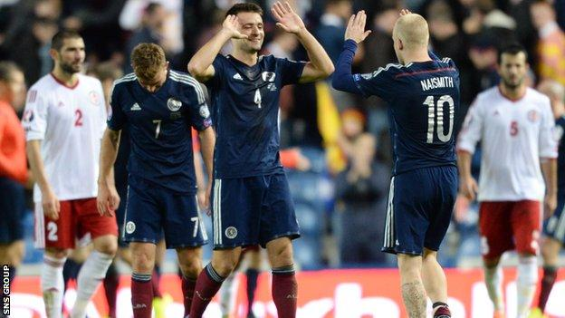 Russell Martin and Steven Naismith celebrate Scotland's win at full-time