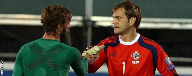 Pat McCourt was unable to repeat his two-goal salvo against the Faroes the last time the sides met in Belfast but Roy Carroll made a fine penalty save