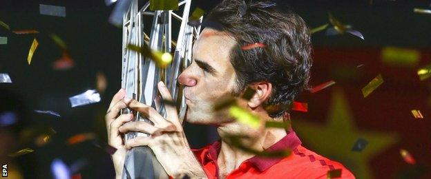 Roger Federer with Shanghai Trophy