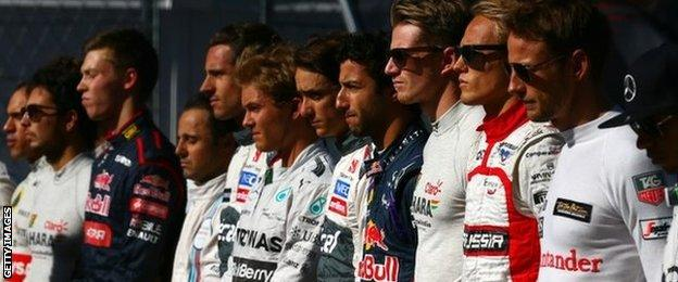 Drivers pay tribute to Jules Bianchi at the Russian GP