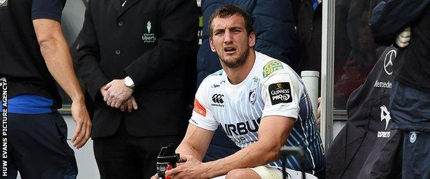 Cardiff Blues captain Sam Warburton looks on after being sin-binned
