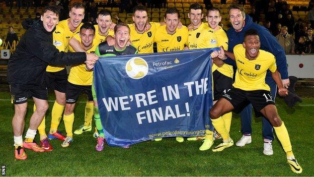 The Livingston players celebrate reaching the final