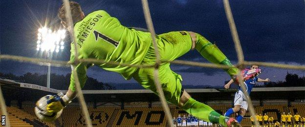 Darren Jamieson saves from Anthony Marenghi to put Livingston into the final
