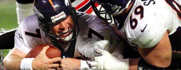 Denver Broncos quarterback John Elway celebrates a touchdown in the 1999 Superbowl - his team won 34-19 against Atlanta Falcons in Miami