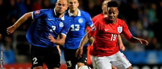 Sterling takes on a defender in England's 1-0 in Tallinn