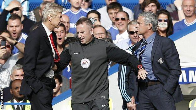 Wenger and Mourinho square up at Stamford Bridge during Chelsea's 2-0 win on 5 October
