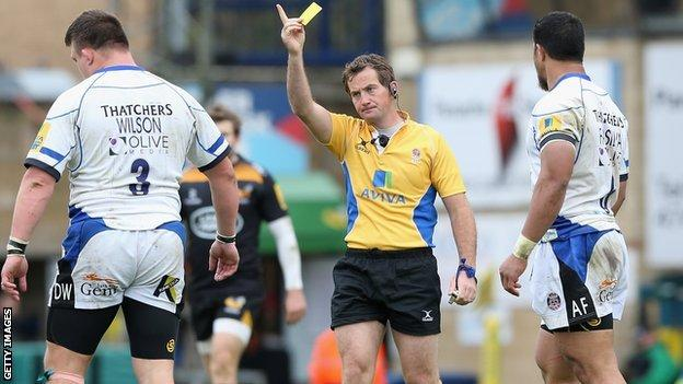 David Wilson is sent to the sin bin against Wasps