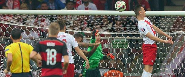 Arkadiusz Milik scores Poland's first in a 2-0 win over Germany
