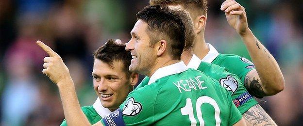 Robbie Keane celebrates scoring against Gibraltar but will he start in Gelsenkirchen?