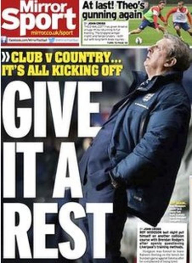 Tuesday's Daily Mirror back page