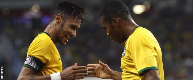 Neymar (left) and Robinho